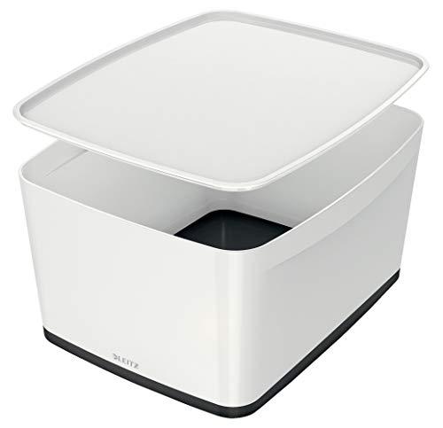 Leitz MyBox Aufbewahrungsbox mit Deckel, 18 Liter, Wasserabweisend, perlweiß /schwarz, WOW, 52161095