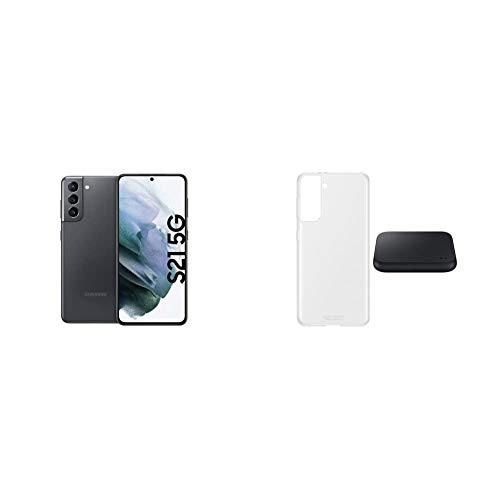Samsung S21+ 5G, Android Smartphone ohne Vertrag, Triple-Kamera, Infinity-O Display, 256 GB Speicher, Phantom Violet + Starter Kit S21+ Clear Cover transparent inkl. Wireless Charger Duo P4300