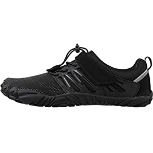 WHITIN Men's Trail Running Shoes Minimalist Barefoot 5 Five Fingers Wide Width Toe Box Gym Workout Fitness Low Zero Drop Male Yoga Zumba Comfortable Pilates Heel Black Size 13