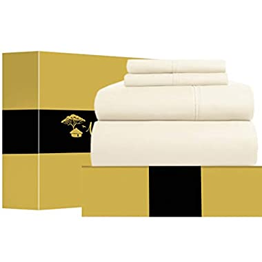 Urban Hut Egyptian Cotton Sheets Set (4 Piece) 1000 Thread Count - Bedspread Deep Pocket Premium Bedding Set, Luxury Bed Sheets for Hotel Collection Soft Sateen Weave (King, Ivory)