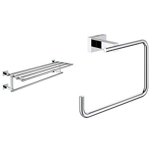 Grohe Essentials Cube Toallero múltiple , 600mm, fijación empotrada (Ref. 40512001) + Essentials Argolla Rectangular de Metal, Acabado Cromado (Ref. 40510001)