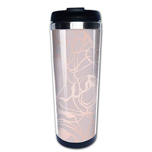 Textura de mármol con imitación de oro rosa Imagen vectorial Café Taza de viaje Tazas de café con tapas Taza de acero inoxidable