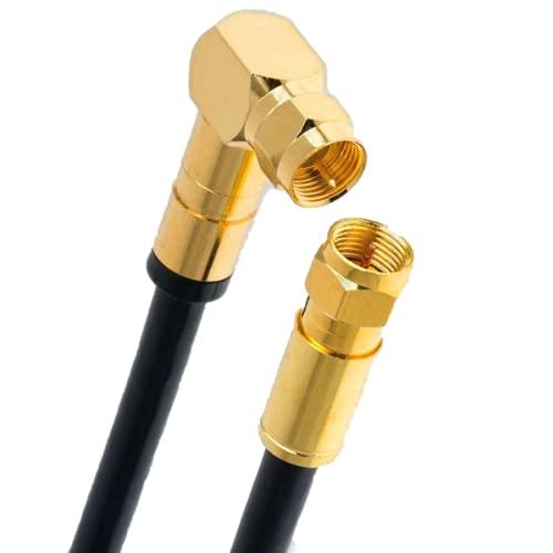Cable de antena satélite digital HDTV, 5 vías, 135 dB, 2 conectores F, 1 cable coaxial en ángulo de 90°, clase A+, Ultra HD, 4K, 3D, UHD, router y módem (2 m), color negro