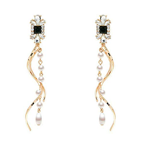 Essencedelight Twisted Wave Dangle Earrings Imitation Pearl Earrings Long Tassel Pendent Earrings...