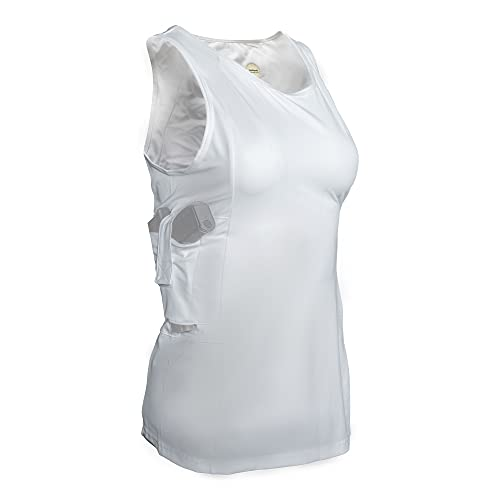 Graystone Holster Tank Top Shirt Concealed Carry Clothing for Women - Easy Reach Concealment Compression CCW Clothes (X-Large, White)