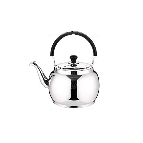 YMSH Gas kettle 304 stainless steel whistling kettle 6L large capacity gas household hot water cooker kettle5L,6L (Color : Silver, Size : 5L)