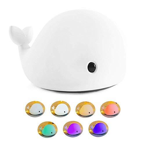 LITSPOT schattig siliconen dolfijn nachtlampje met 7 kleuren licht kwekerij nachtlampje voor jongens en meisjes, Brithday kerstcadeau ect