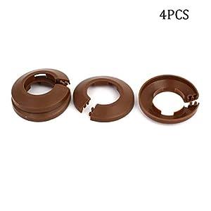 LAQI 4 Piezas de plástico Brida de Pared radiador Cubierta de tubería de Agua Collar 32 mm marrón