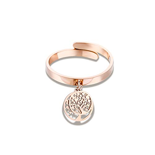 JinHan Tree of Life Ring, Women Ring,Girl Fashion Ring, Rich in Cubic Zircon, Adjustable Anti-Allergic Material, Birthday Gift for Girls, Silver/Rose Gold/Gold