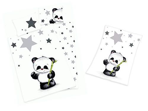 Baby Bettwäsche und Flauschdecke im Set Motiv : Panda 100x135 cm 40x60 cm 75x100 cm