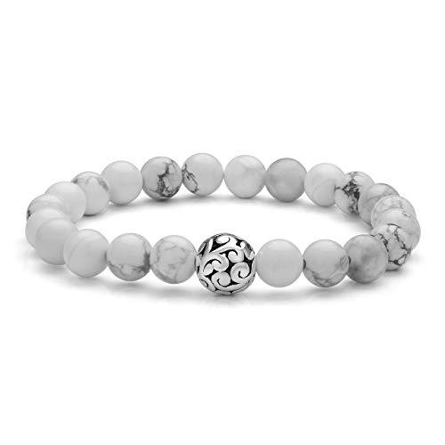 Top Plaza Healing Crystal Stone White Turquoise Bead Stretch Bracelet Elastic Gemstone Beaded Bracelets Yoga Meditation Reiki Balancing Quartz Jewelry for Womens Mens