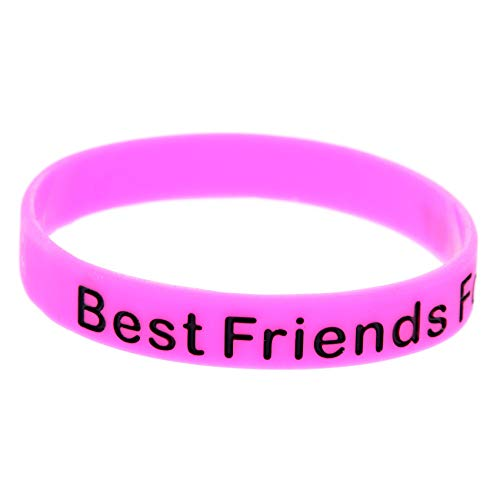HSJ 10 Unids Best Friends Forever Silicone Pulsera BFF Buen Amigo Amigo Memorial Pulsera Inspira Perfectamente Fitness, Baloncesto, Ejercicio para Encontrar, Ejercicio Y Tareas,Rosado