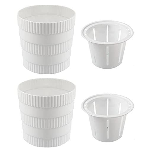 Plastic Plant Pot Ser Absorbente pequeñas y Redondas Tiesto con Orificios de desagüe, Cubierta Planter jardinería Pot para Todos Plantas, Hierbas 2 Piezas