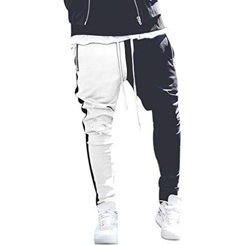 EUCoo-Homme Long Bloc de Couleur Rue Patchwork Fermetures à glissière Pantalon Crayon élastique élastique(Blanc,L)