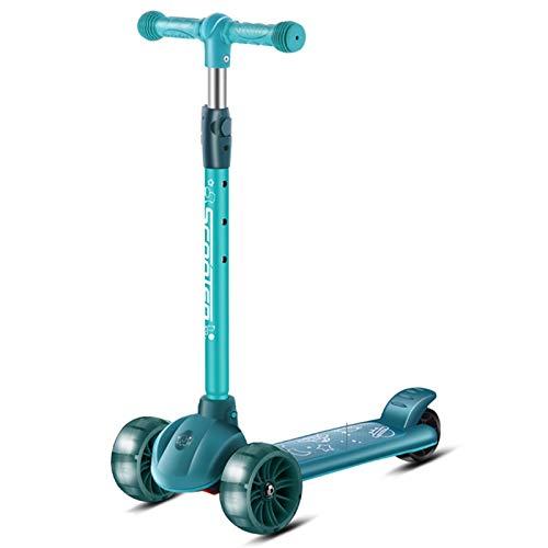WFSH Scooter Desmontable de Tres Ruedas Scooter para niños, Adecuado para niños y niñas de 2 a 12 años (Color : Green, Size : 51x28cm)