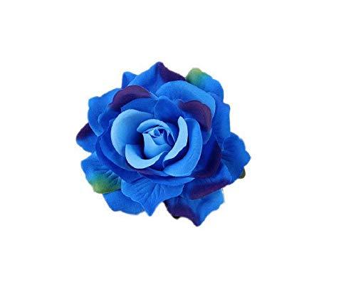 JBR 2X Elegante Haarrose Ansteckrose Ø 10 cm Haarblume mit Schnabelspange Flamenco Accessoires (Blau#2-2Stück)