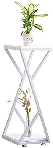 ZGYZ Modern Furniture Square Sofa Beistelltisch, Creative Couchtisch Ecktisch, 2 Ebenen Lagerregal Blumenständer für Schlafzimmer, Wohnzimmer, Balkon, Weiß, 30x30x82cm