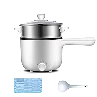 Electric Hot Pot, Rapid Noodles Cooker, Stainless Steel Mini Pot 1.6 Liter, Perfect for Ramen, Egg, Pasta, Dumpling, Soup, Porridge, Oatmeal with Temperature Control and Keep Warm Function,Gray