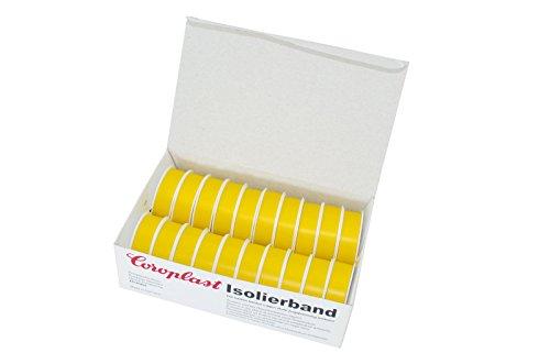 Isolierklebeband gelb – 20 Stück Isolierband VDE geprüft 10m pro Klebeband Rolle zur Isolierung von elektrischen Leitungen