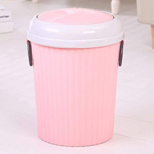 Plastic Ronde Afval Papier Mand, Grote Capaciteit Prullenbak Met Deksel Badkamer Bin Rubbish Kan Met Handgrepen Voor Thuis Kantoor, 21x27cm (Kleur : Roze)