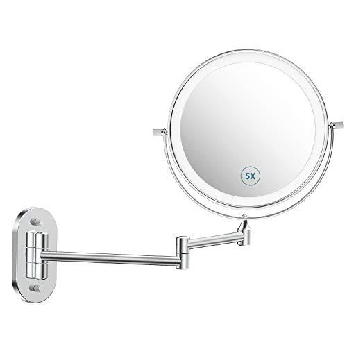 """alvorog Espejo Maquillaje con Luz LED, Espejo de Pared con 3 Modos de Luz y Aumento 1x/5x, 8""""Espejo de Baño con Luz Ajustable, Rotación de 360°, 0.5h Apagado Inteligente y Recargable USB - Plata"""