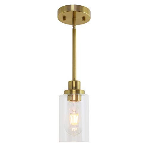 MELUCEE 1-Light Modern Pendant Light Brass Finish with Clear Glass Shade, Kitchen Island Lighting, Contemporary Light Fixtures Ceiling Hanging for Dining Room Hallway
