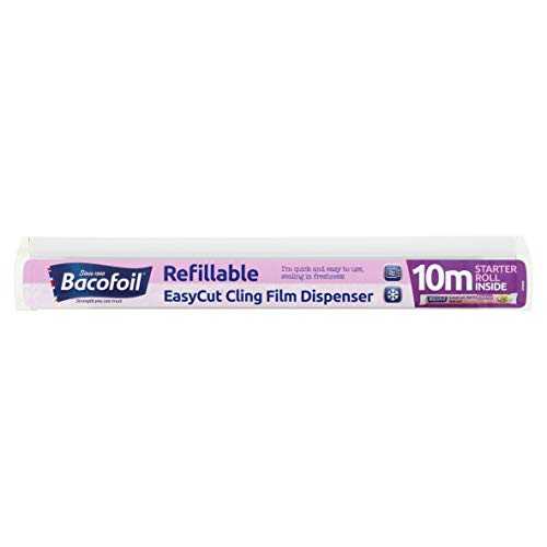 Bacofoil Refillable EasyCut Cling Film Dispenser with 10m Starter Roll
