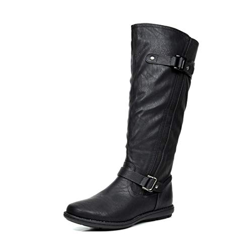 DREAM PAIRS Women's Trace Black Faux Fur-Lined Knee High Winter Boots Wide Calf Size 9 M US