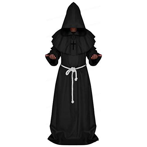 Positive Costume Disfraz de Sacerdote Medieval, renacentista, Amigo, Monje, Mago, Cosplay, Bata Larga con Capucha, Disfraz de Halloween - Negro - X-Large