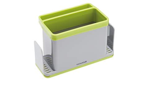 KitchenCraft KCSINKSTORE 4-in-1 Plastic Kitchen Sink Tidy, Plastic, Grey Green ,19.5 x 9.5 x 12 cm (7.5 Inch x 3.5 Inch x 4.5 Inch)