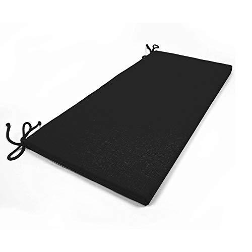 Arketicom 2 Coussins De Chaise et banquets Rectangulaire avec 2 Lacets en Mixte Coton Couleur Noirs 40x90x3 cm