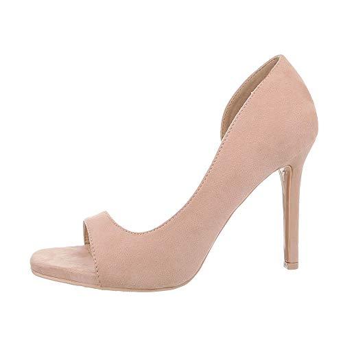 Ital-Design Damenschuhe Pumps High Heel Pumps Synthetik Altrosa Gr. 38