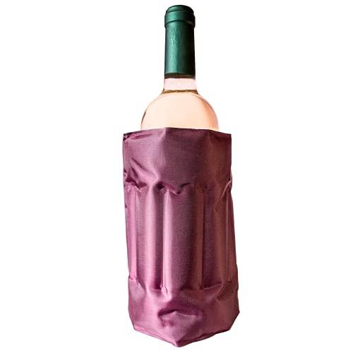 Enfriador De Botellas De Vino - Funda Elastica Para Enfriar Botellas - Botellero Vino Con Gel Frio Autoajustable Color Rojo Oscuro De Material Poliester Con Velcro.