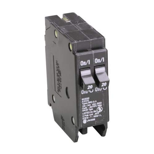 Cutler-Hammer BD2020 Type BD Circuit Breaker, 120 VAC, 20 A, 10 kA, 1 Pole, Thermal Magnetic Trip