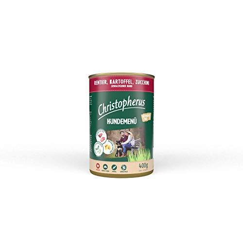 Christopherus Hundemenü, Mit Rentier, Kartoffel, Zucchini, Vollnahrung für erwachsene Hunde, Nassfutter, 6 x 400 g