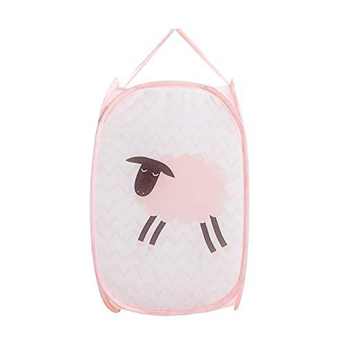 Opbergdozen MYKK Opvouwbare handgreep Opbergdoos Polyester Wassen van vuile kleren Organizer Speelgoedbak Wasmand 50 * 30cm Roze schapen