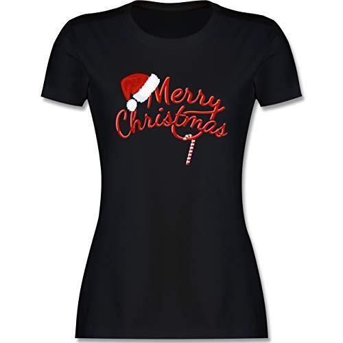 Weihnachten & Silvester - Merry Christmas Zuckerstange - XL - Schwarz - Tshirt Damen Christmas - L191 - Tailliertes Tshirt für Damen und Frauen T-Shirt