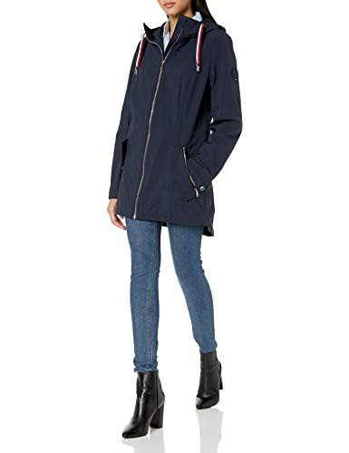 Tommy Hilfiger Women's Sporty Zip Front Hooded Soft Shell Rain Jacket, Navy, Small