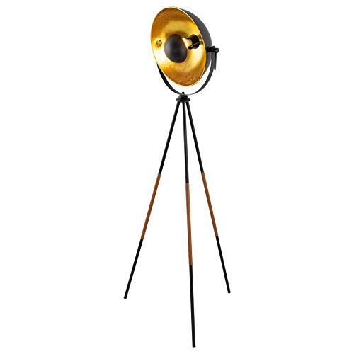 Kira Home Sulis 58' Modern Industrial Tripod LED Floor Lamp + 9W Bulb (Energy Efficient/Eco-Friendly), Leather Accent Legs, Satellite Style Shade, Black Finish
