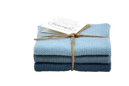 Solwang 100101102 3er Set Wischtuch rustikales blau, Gestrickt, 100% Öko-Tex Baumwolle, ca. 25x25 cm, Wischlappen, Baumwolle Putzlappen Edelstahl