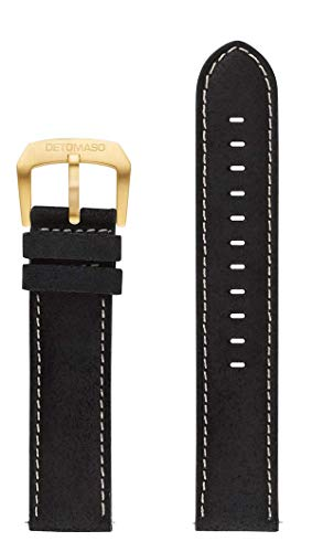 DETOMASO echtes italienisches Lederarmband mit hochwertigem Stitching 22mm (Leder - Schwarz (Naht: Weiß))