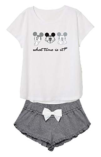 Disney Mickey Damen Schlafanzug kurz Baumwolle Gr. X-Large, weiß-grau
