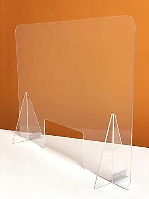 Mampara de Proteccion Pantalla Metacrilato transparente CON SOPORTES PARA FIJARLA A LA MESA Fabricada en Metacrilato ( AUTENTICO ) de 5 mm ( REALES ) Maximo porcentaje de transparencia e incoloro Medidas 80 cm ancho X 60 cm alto X 19 cm profundidad