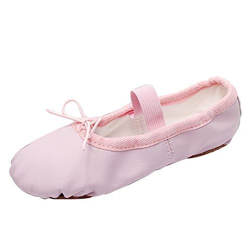 RUYBOZRY Zapatos de Ballet Profesionales con Suela Completa de Cuero para Niños Pequeños y Niñas y Mujeres,Modello-TJ-QDPU,Rosa,31 EU