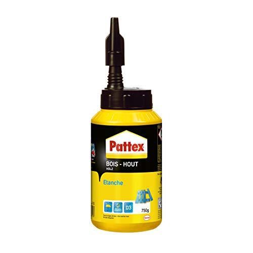Pattex Bois Hout Waterproof, Biberon de colle à bois résistante, Colle vinylique pour montage, assemblage, placage ou contrecollage en milieu humide et chaud, 750 g