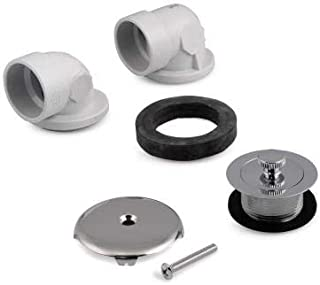 Everbilt Twist and Close 1-1/2 in. Sch. 40 White PVC Bath Waste and Overflow Tub Drain Plumbers Kit in Chrome