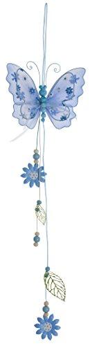 DIGE n27lub03/11 - Suspension papillon fleurs et perles, turquoise 49 cm