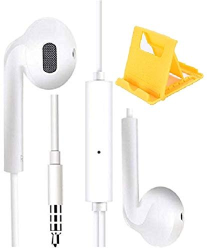 LUZWE® Wired in-Ear Super Extra Sound Bass Headphones with Mic, Gaming/Calling Use Earphone, Noise Cancellation Sound Control 3.5mm Jack Earphone for All Android & iOS Smartphone.(White)