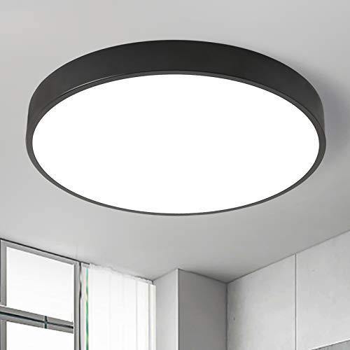 Natsen LED Deckenleuchte 24W Deckenlampe Ultraslim Warmweiß 3000K I Ø400x50mm I moderne Leuchte für Wohnzimmer, Schlafzimmer, Küche, Büro (Schwarz) [Energieklasse A+]