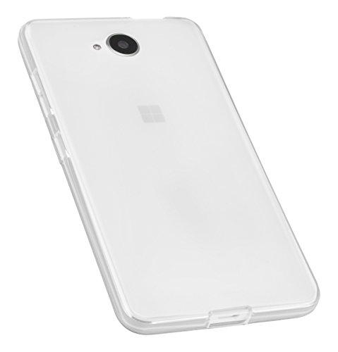 mumbi Funda Compatible con Microsoft Lumia 650 Caja del teléfono móvil, Blanco Transparente